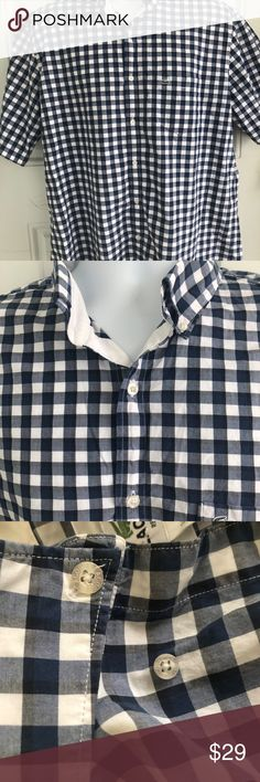 6fe1381686618 Lacoste Checkered button Down Shirt Lacoste Mens Size 44 Blue   White  Checked Button Down Short Sleeve Shirt Length Chest Cotton Made in France  Lacoste ...