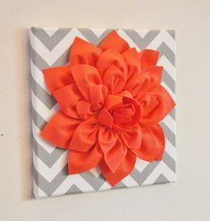"SPRING! Wall Flower Decor -Coral Dahlia on Gray and White Chevron 12 x12"" Canvas Wall Art- Baby Nursery Wall Decor-. $34.00, via Etsy."