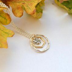 Bee necklace bee gift mixed metal necklace gardener gift