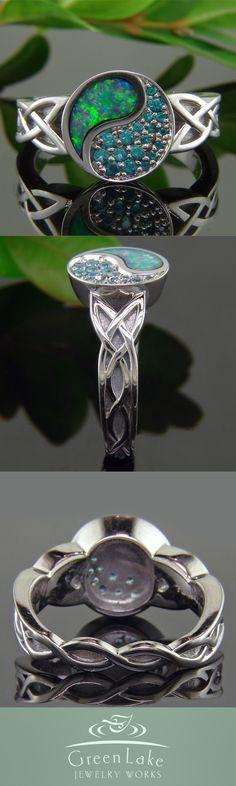 Engagement Ring - Custom yin-yang ring in palladium with flush set opal and bead set blue topaz.