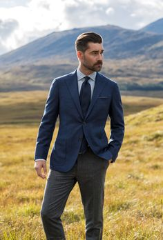 Slate blues, cool greys, and greens inspired by the colors of northern Scotland, featuring all-new custom shirts and jackets. Blazer Suit, Suit Jacket, Custom Shirts, What To Wear, Blues, Skye Scotland, Jackets, Men, Outfits