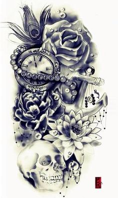 a skull and a cluck and ancer with flowers tatoo Skull Tattoo Design, Skull Tattoos, Body Art Tattoos, Tattoo Drawings, Tattoo Designs, Tattoo Ideas, Arm Tattoos, Zodiac Tattoos, Lace Skull Tattoo