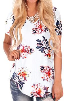 aa7210e9356 NIASHOT Plus Size Tops for Women Flower Print Short Sleeve Summer Tshirt  Blouses XL. Floral