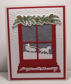 I discovered today, you can use a piece of Winter Wonderland Designer vellum under the frame. It already has the snow printed on it. I put a piece of Night of Navy behind it. TFL