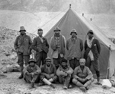1924 British Everest Expedition, the third British expedition to the world's highest mountain, Mount Everest. Back row, left to right; Andrew Comyn Irvine, George H. Leigh-Mallory (Climbing Leader), Lt. Colonel Edward F. Norton (Acting Leader), Noel E. Odell, and John MacDonald. Front row;  Edward O. Shebbeare (He was in charge of transport), Capt C. Geoffrey Bruce, Dr T. Howard Somervell and Bentley Beetham.