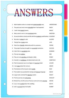 Suffixes - Adjectives formed from Nouns and Verbs - English ESL Worksheets for distance learning and physical classrooms Adjectives Grammar, Nouns And Verbs Worksheets, Proper Nouns Worksheet, Adjective Worksheet, English Adjectives, English Grammar Worksheets, Grammar Lessons, Printable Worksheets, Suffixes Worksheets