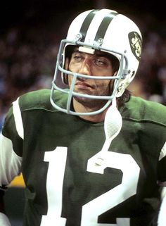 Joe Namath #12 (QB) looks on in disgust as his NY Jets fall to the Cleveland Browns on the very first Monday Night Football game aired by ABC on Sept. 21, 1970.
