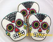 Day of the Dead Skull Hand Decorated Sugar Cookie - 6 Cookies