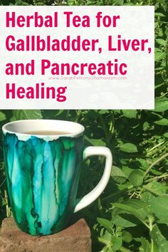 Herbal tea recipe for soothing inflammation, nausea, and pain associated with the gallbladder, liver, and pancreas. Mug from Emederart Etsy Shop. https://www.etsy.com/shop/emederart