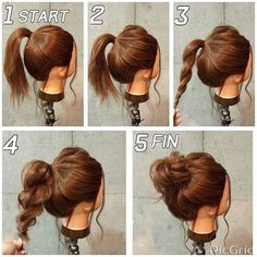 Easy and fast hairstyles for medium hair - Neue Besten Haare Frisuren ideen 2019 - Cheveux Updo Styles, Curly Hair Styles, Long Hair Ponytail Styles, Headband Styles, Fast Hairstyles, Trendy Hairstyles, Cute Bun Hairstyles, Fashion Hairstyles, Waitress Hairstyles