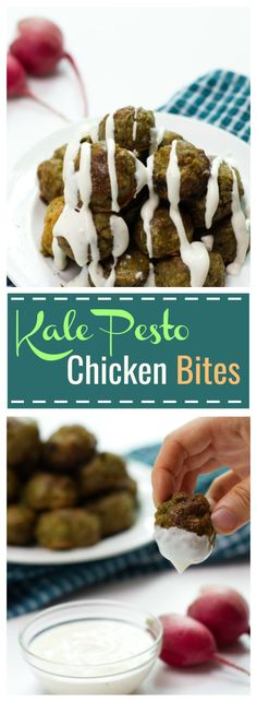 Kale Pesto Chicken Bites - a deliciously easy, savory meal or snack that's right for the whole family. Plus, did I mention it has kale as a secret ingredient? ;)
