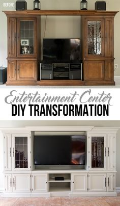 A beautiful thrift find gets transformed into a elegant entertainment center with Fusion Mineral Paint and a new center tv console.