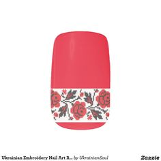 """CLICK """"MINX"""" TO PURCHASE Ukrainian Embroidery Nail Art Red Roses Minx® Nail Wraps"""