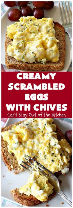 Creamy Scrambled Eggs with Chives | Can't Stay Out of the Kitchen | this outstanding #GooseberryPatch #recipe is marvelous for a weekend, company or #holiday #breakfast.  #ScrambledEggs are filled with #CreamCheese & chives. Then served over toast. These creamy #eggs are easy to prepare & so delicious. This entree remains #GlutenFree if using Gluten Free #bread. #brunch #HolidayBreakfast #CreamyScrambledEggsWithChives