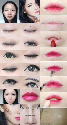 Ideas For Makeup Asian Tutorial Gradient Lips Ideas For Ma. - Ideas For Makeup Asian Tutorial Gradient Lips Ideas For Makeup Asian Tutorial Gradient Lips Ulzzang Makeup Tutorial, Lip Makeup Tutorial, Korean Makeup Look, Asian Eye Makeup, Asian Makeup Tutorials, Makeup Tricks, Eyeshadow Tutorials, Lolita Make-up, Asian Makeup
