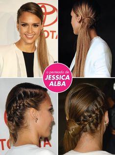 penteado-jessica-alba ponytail rabo de cavalo tranca ideia hairdo updo diferente festa