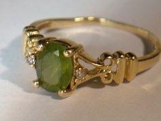 14K Vintage Yellow Gold Ring  24 GRAMS Peridot by My3LadiesJewelry, $179.99