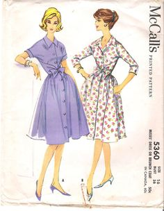 Vintage McCalls Sewing Pattern 5360 Mad Men Housewives Dress or Brunch Coat with Full Skirt, Collar and Bow Bust 36. $12.00, via Etsy.