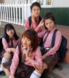 These Mizo teen girls in their pretty uniform enjoy their photo shoot session