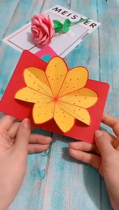 Diy Origami Cards - Mother's Day for girls videos crafts crafts crafts Paper Flowers Craft, Paper Crafts For Kids, Flower Crafts, Origami Flowers, Paper Butterfly Crafts, Diy Origami Cards, Paper Crafts Origami, Cards Diy, Oragami
