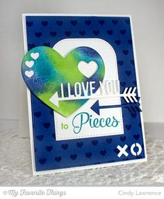 Smitten with You, Tiny Hearts Background, Heart Puzzle Die-namics, Straight to My Heart Die-namics, Tag Builder Blueprints 3 Die-namics - Cindy Lawrence #mftstamps