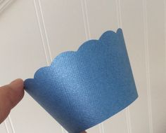 Blue Cupcake Wrappers  Pearlescent Blue  by welldressedcupcakes