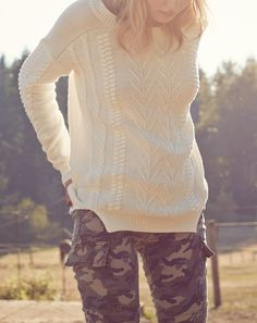 Perfect go-to knit sweater paired with camo. So cute for fall!