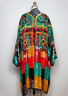 Bold Color Block Sequin Kimono Jacket / Bohemian Embellished Open Kaftan / Vintage Sequin Coat O/S 21st Birthday Outfits, Birthday Outfit For Women, Birthday Dresses, Sequin Kimono, Sequin Dress, Beaded Dresses, Midi Dresses, Dress Bar, Coat Dress