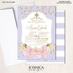 Floral Holy Communion Invitation GOLD & Lilac Stripes Gold Glitter Pink Peony Christening Party Invite Printed Printable File Free Shipping by IconicaDesign on Etsy