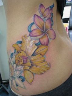 white, yellow and pink flower #tatoo by Meghan Patrick at 12 oz studio