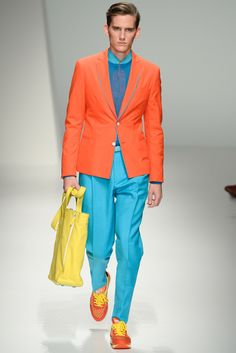 Funky blazer and trouser get up.You wont need to cross the road near a crossing with this outfit thats for sure :)