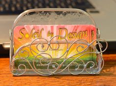 Stained Glass Business Card Holder by SoleilByDesign on Etsy