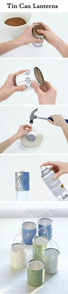 Note: fill can with dirt so can doesn't bend while making holes