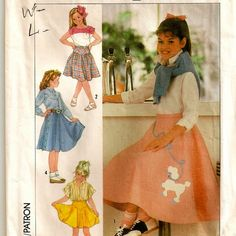 """A Retro Style """"Poodle"""" Skirt with Length and Closure Variations, and Poodle Applique Pattern for Girls"""