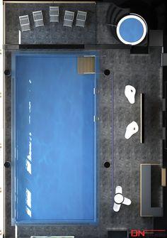BRISTOL ART & SPA Sanatorium in Busko Zdroj, Poland. Design and Renderings of the Indoor Swimming pool - top view.