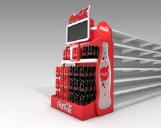 Gondola end development for Coca-Cola with video incorporation.The bottom of the structure elevates for insertion and removal of stock in pallet. Point Of Sale, Point Of Purchase, Pop Display, Display Design, Store Design, Coca Cola Shop, Coca Cola Brands, Guerilla Marketing, Ale