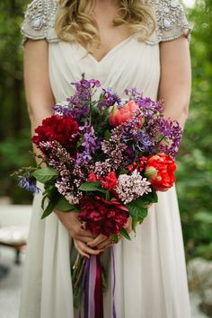 Jewel toned bridal bouquet | Meredith McKee Photography | see more on: http://burnettsboards.com/2015/11/marsala-woodland-wedding-inspiration/