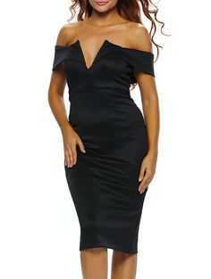 Sexy Women Off-the-shoulder Midi Dress Bodycon Dresses Vestido De Festa Cocktail Party Dress Club Wear Multicolor Available Bodycon Dress Parties, Sexy Party Dress, Club Outfits For Women, Clothes For Women, Robes Midi, Black Off Shoulder, White Midi Dress, Dress Black, Club Party Dresses