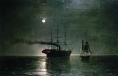 paintings of the night | Ships in the stillness of the night - Ivan Aivazovsky - WikiPaintings ...