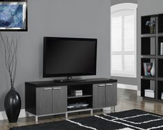 "Black / Grey Hollow-Core 60""L Tv Console"