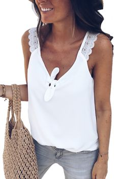 -Sexy flirty v neck with knot front -Precious lace shoulder, cool sleeveless -Regular fit is perfect for most shapes -Different colors and sizes online shop -online shop tank tops to replace old ones Lace Vest, Couture Tops, Lace Tops, Black Tank Tops, Pretty Outfits, Summer Outfits, Womens Fashion, Shirts, Style