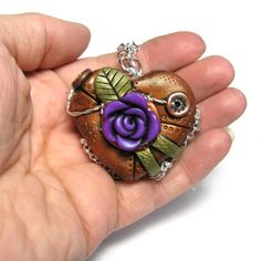 Steampunk Heart Locket - industrial rose cogs gears jewellery necklace pendant - READY TO SHIP via Etsy