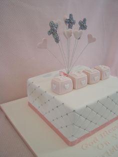 pretty pink christening cake