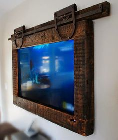 Hanging Tv ,Barn Door Style - Rustic Home Decor Diy Deco Tv, Framed Tv, Wall Mounted Tv, Hanging Tv On Wall, Reclaimed Barn Wood, Barn Door Hardware, Barn Doors, Loft Doors, Home Projects