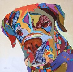 Daily Painting, A Quizzacle Look, abstracted dog painting, painting by artist Carolee Clark