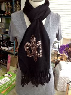Fleurty Girl - Everything New Orleans - Studded Fleur de Lis Scarf - Footwear & Accessories Simple Style, Cool Style, My Style, Saints Gear, Love, New Orleans, Scarves, Footwear, Clothing Ideas