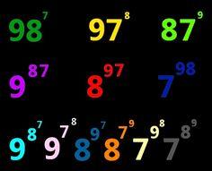 Potencias posibles con los números siete, ocho y nueve
