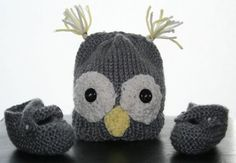 *Popular Item* Boys Grey Knitted Owl Hat and Booties by CreativeChaosMission, $15.00