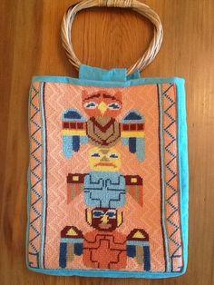 VTG Southwest Totem Pole Suede Leather Handbag Bamboo Handles Turquoise Turtle #Handmade