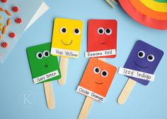 Paint Chip Color Puppets...maybe I could use these for solfege puppets